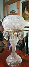 "Antique Cut Glass 26"" Tall Table Lamp 35 Lusters Prisms Excellent"