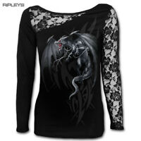 SPIRAL DIRECT Ladies Black Goth DRAGONS CRY Lace Top L/Sleeve All Sizes