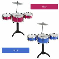 3-Piece Kids Drum Set Children Junior Drums Kit Percussion Musical Instrument 9f