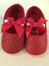 Baby Shoes - New in Sparkly Red with Bow - infant size 3