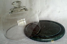 Vintage Cheese Dome Dish Tray Glass Cover Green Marble Plate