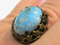FANCY VINTAGE BRASS RING W OVAL PERSIAN TURQUOISE BLUE ART GLASS CABOCHON ADJUST