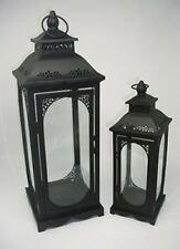 Set of 2 Black Moroccan Style Metal and Glass Lanterns Wedding Display