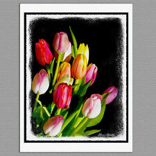 6 Tulip Flower Painted Syle Art Original Handmade Note Greeting Cards