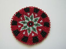 """Beaded Rosette 3"""" Round Leather Sewing Regalia Crafting Tribal Native Design 10D"""