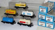 5 Märklin Kesselwagen: 4441 Esso 2x 4440 Aral 4442 Shell 4443 Agip H0