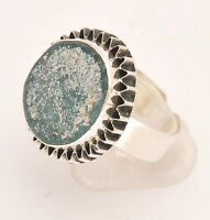 Roman Glass Hand Made Ring In Sterling Silver 925 #3