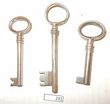 3 Large European Antique Metal Door Skeleton Keys Latch Keys 231