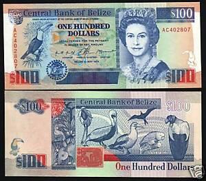 BELIZE 100 DOLLARS P57 1994 QUEEN TAPIR PELICAN UNC RARE CARIBBEAN MONEY UK NOTE