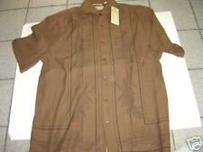 NEW MENS CUBAVERA BROWN SILK S/S SHIRT SIZE S $65