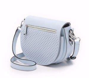 NWT Rebecca Minkoff Star Perforated Astor Leather Saddle Bag Bleached Blue $295