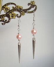 Pretty Baby Pink Pearl Bead Silver Spike Long Dangly Drop Earrings