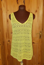 NEXT chartreuse yellow-green crochet vneck camisole vest tunic top 10 38 holiday