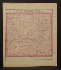 Ohio Portage County Map Paris Township 1874 Dbl Side  Y14#35