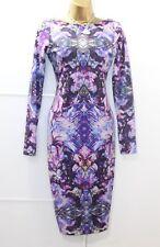 Lipsy Mirror Multi Purple Print Shimmer Glitter Bodycon Dress 12 Long Sleeved