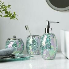 Bathroom Accessory/Accessories Set 4PC Set Mosaic Glass Dispenser/Dish (Green)
