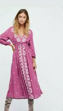 Free People Embroidered V Neck Fable Raspberry Maxi Midi Dress X-Small $168