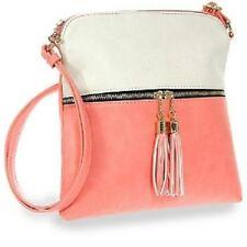 Tassel Accented Light Pink Crossbody Sling Single Carry Strap
