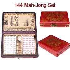 Portable Red Mahjong Box Rare Chinese 144 Tiles Mah-Jong Set In Leather Box  !