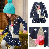 Kids Girls One-piece Dots Deer Pleated Cotton Skirts Long Sleeve Lace Dress New