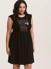 TORRID (4X  26) Black Graphic American Built Ruffled T-Shirt Dress Rock 'n'Roll