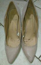 worn beige heels size 6