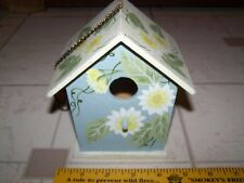 Hand Painted Wood Birdhouse with flowers