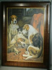 Antique Arts Crafts Empire Faux Rosewood Picture Frame Beagle Dog Oil Painting