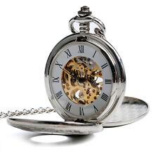 Luxury Silver Vintage Double Hunter Roman Skeleton Pocket Watch Mechanical Gift