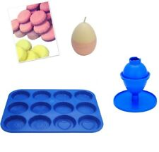 Set x 2, Egg Candle Mould with Base & Wax Melt Tart Tray, Swirl, Heart etc S7762