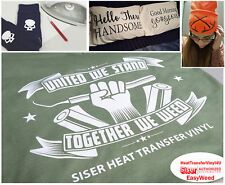 """Siser EasyWeed Heat Transfer Vinyl 15 Sheets (15"""" x 12"""") SELECT YOUR COLORS!"""