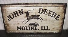 JOHN DEERE MOLINE USA (WOOD -EFFECT), EMBOSSED 3D XL METAL SIGN 50X25cm TRACTORS