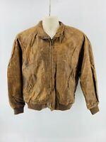 Context Men's Jacket Bomber Leather Brown Size Medium