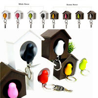 1set Home Wall Hanging Bird Nest Bird House & Sparrow Whistle Keychain Key Ring