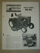 1964 WHEEL HORSE TRACTOR RM-485 ROTARY MOWER PARTS LIST MANUAL