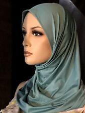 New Teal Blue lycra hijab 1 piece abaya Islam scarf chemo head cover scarf A+