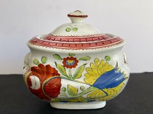 KING'S ROSE Painted Antique Staffordshire Creamware Pearlware Cover Sugar Bowl