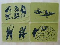 Vintage Inuit Eskimo Art PlaceMats Helen Kalvak Agnes Nanogak Holman Silk Screen