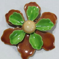 Vintage Flower Power Brooch Metal Enamel Green Brown 2.5""