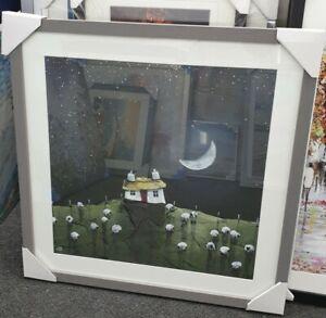 Moonlit Flock by Geoff Beckett 70x70cm framed