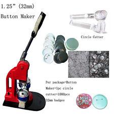 """1-1/4"""" 32mm DIY Button Maker Machine Badge Press+1000 Buttons +Circle Cutter"""