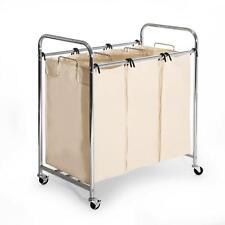 Triple Laundry Sorter Clothes Hamper Storage Organizer Basket Bin 3 Bag Rolling