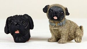 Small Pug Figurine Statue Fawn and Magnet Black