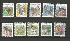 10 timbres oblitérés Suisse Helvetia années 90 animaux /T6125