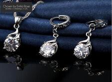 925 Wedding Jewellery Set, Crystal Earrings & Necklace, Wedding Bridal Jewelry
