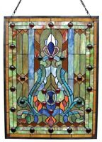 "Window Panel Victorian Design Tiffany Style Stained Glass 18"" Wide x 24"" High"