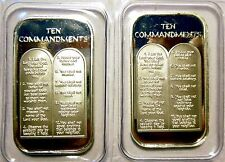 2 X 1oz TEN 10 COMMANDMENTS .999 PURE SILVER BARS ~ UNC & SEALED IN VINYL !