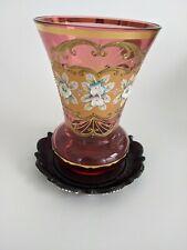 Vintage Bohemian Czech Gold Gilt Cranberry Glass Vase Hand Painted Raised Enamel