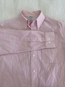 Brooks Brothers 1818 Mens Dress Shirt Medium Pink Check Plaid Slim Fit Regent
