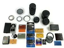 Lot Of Camera Lenses Filters Cokin Chromofilters Batteries Light Meter Vivitar
